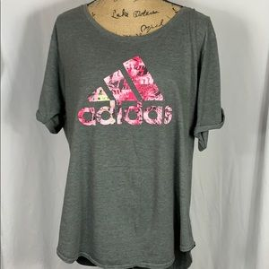 Adidas The Go To Tee XL Gray & Pink Logo